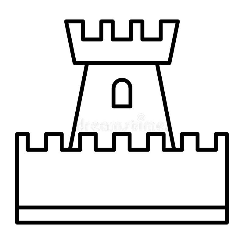 Dünne Linie Ikone des Schlossspielzeugs Turmvektorillustration lokalisiert auf Weiß Spielzeugentwurfs-Artdesign, bestimmt für Net lizenzfreie abbildung
