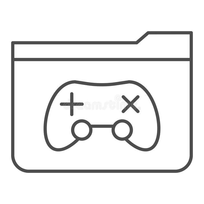 Dünne Linie Ikone des Spielordners Ordner mit der Spielauflagen-Vektorillustration lokalisiert auf Wei? r lizenzfreie abbildung