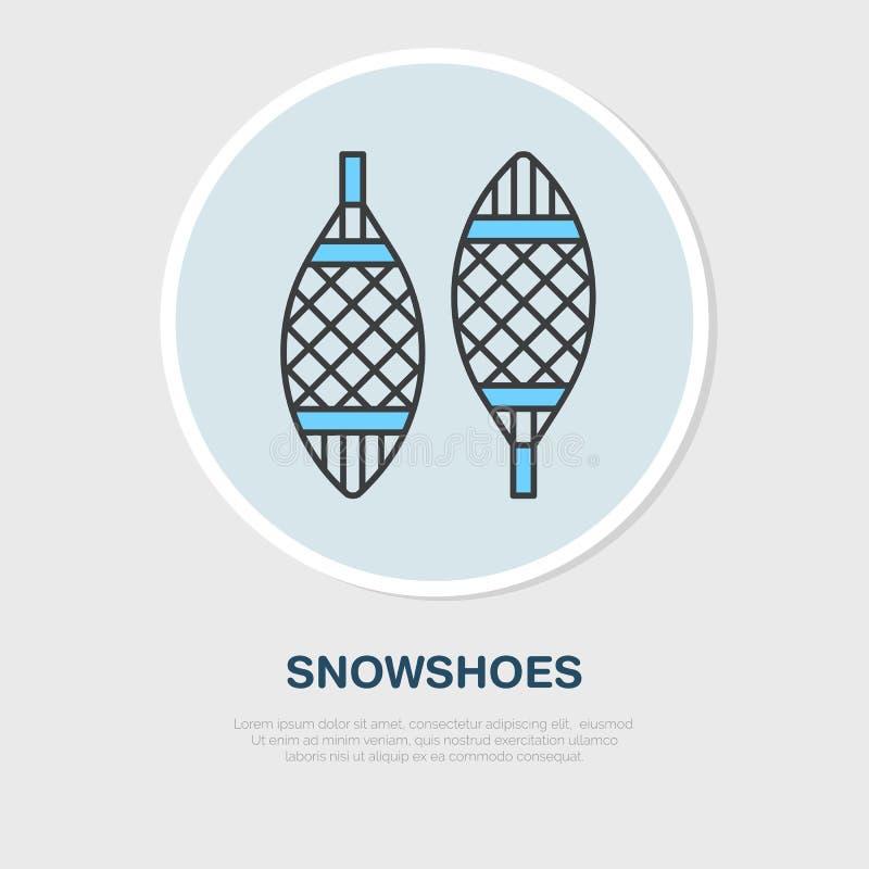 Dünne Linie Ikone des Vektors von Schneeschuhen Wintererholungsausrüstungs-Mietlogo Entwurfssymbol des Gehens auf Schnee kalt stock abbildung