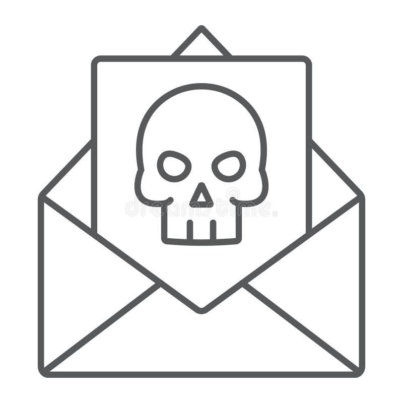 Dünne Linie Ikone des Verbrechenbuchstaben, furchtsam und Anmerkung, Postzeichen, Vektorgrafik, ein lineares Muster auf einem wei lizenzfreie abbildung