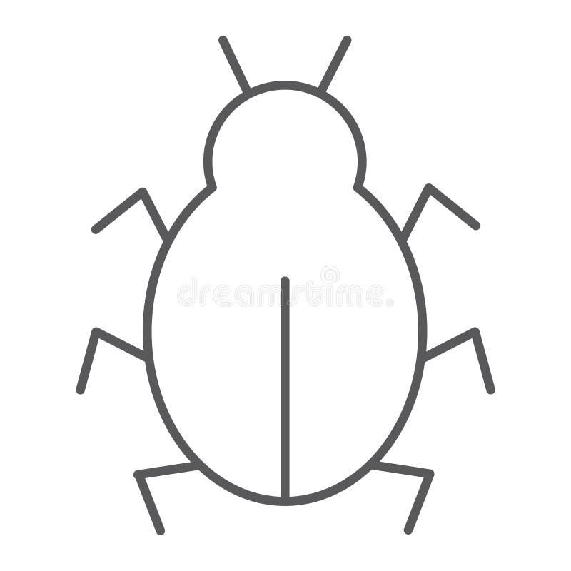 Dünne Linie Ikone des Virus, Sicherheit und Internet, Computerwanzenzeichen, Vektorgrafik, ein lineares Muster auf einem weißen H stock abbildung