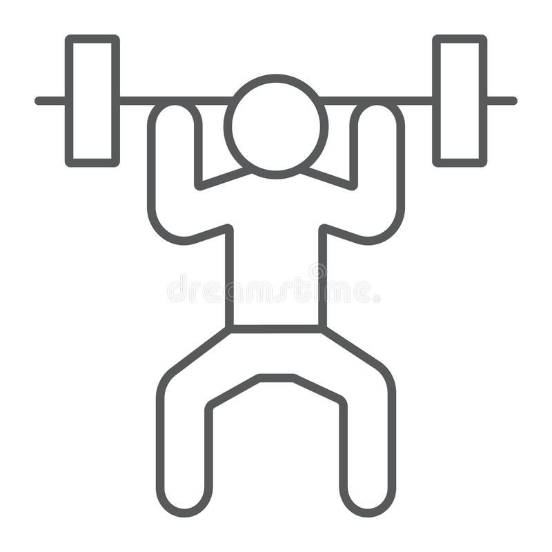 Dünne Linie Ikone des Weightlifter, Sport und Bodybuilding, Gewichthebenzeichen, Vektorgrafik, ein lineares Muster auf einem weiß stock abbildung