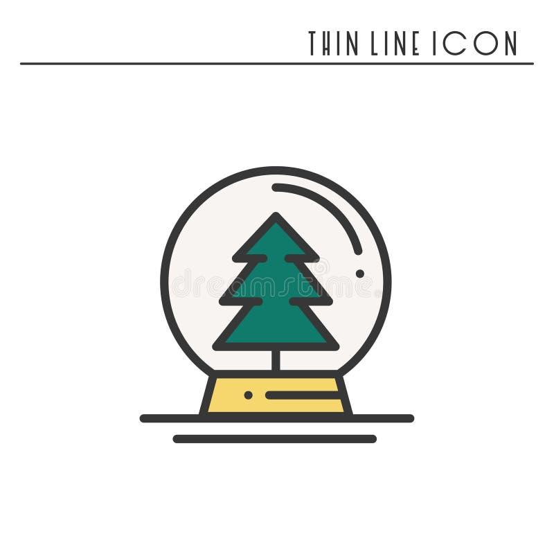 Dünne Linie Ikone des Weihnachtsschnee-Balls Weihnachtsbaum-Fichtentanne Feier des neuen Jahres verzierte Piktogramm Weihnachtswi vektor abbildung