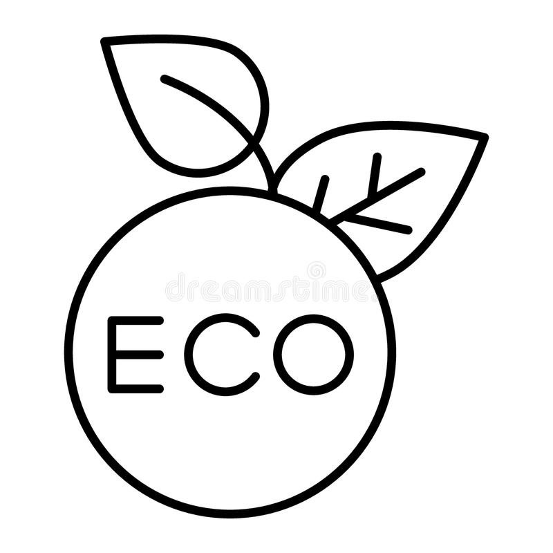 Dünne Linie Ikone Eco-Aufklebers Eco-Zeichen-Vektorillustration lokalisiert auf Weiß Aufkleberentwurfs-Artdesign der Ökologie run vektor abbildung