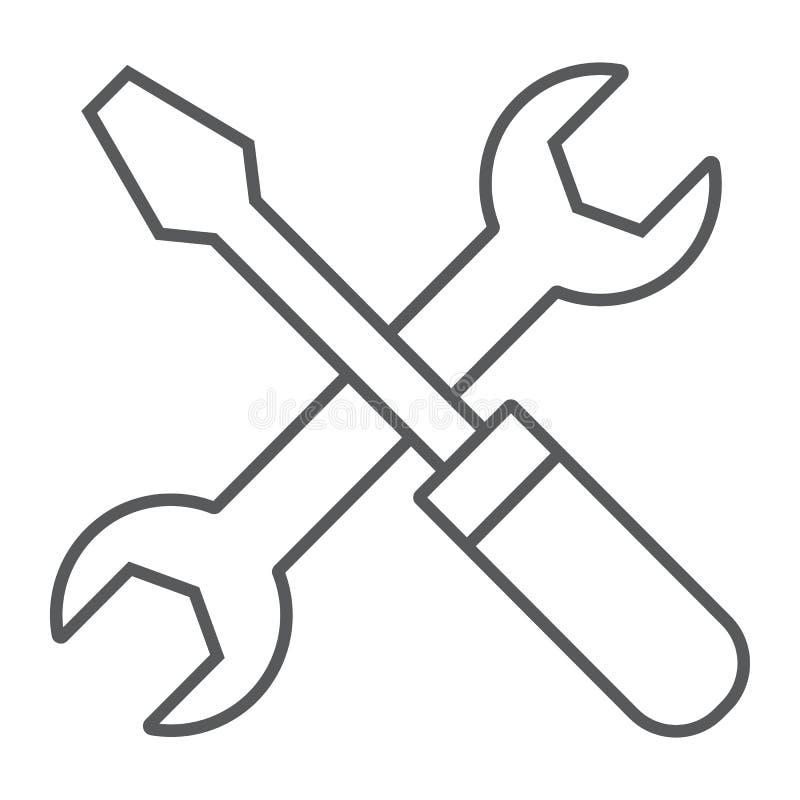 Dünne Linie Ikone, Einstellungen des Schraubenziehers und des Schlüssels vektor abbildung