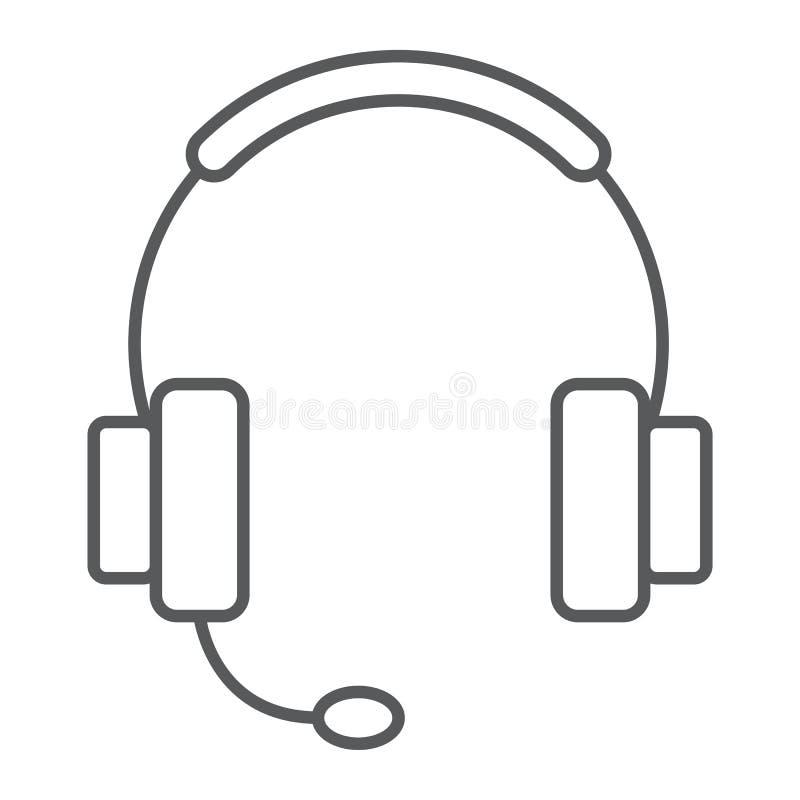 Dünne Linie Ikone, elektronischer Geschäftsverkehr der technischen Unterstützung lizenzfreie abbildung