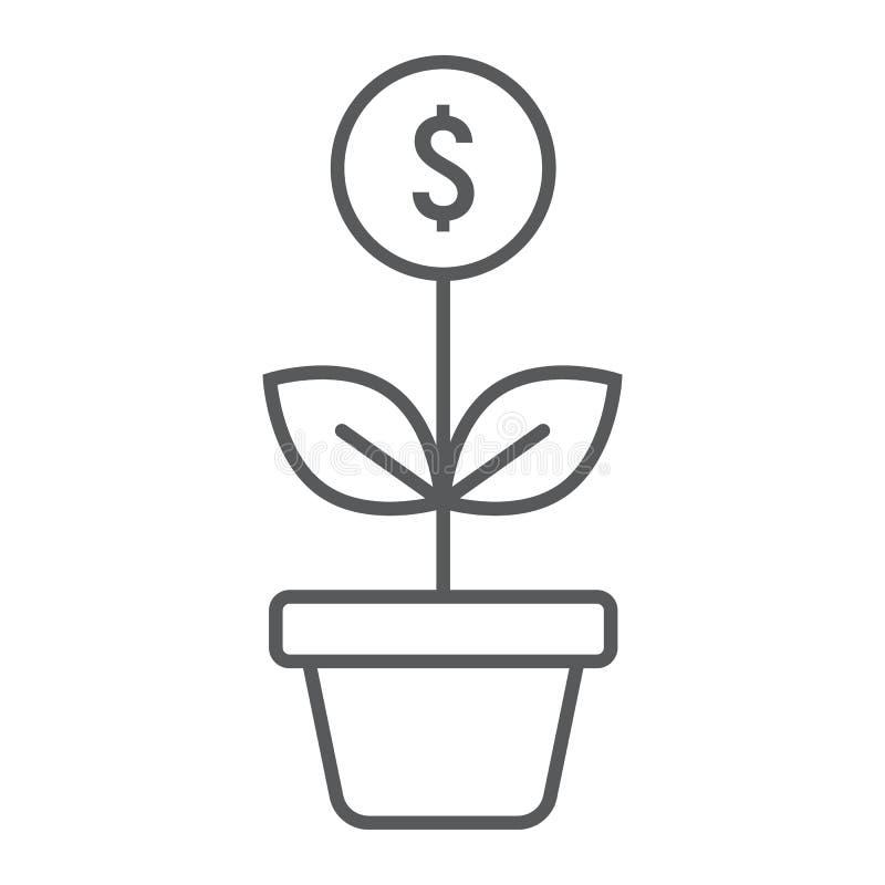 Dünne Linie Ikone, Entwicklung der erfolgreichen Investition stock abbildung