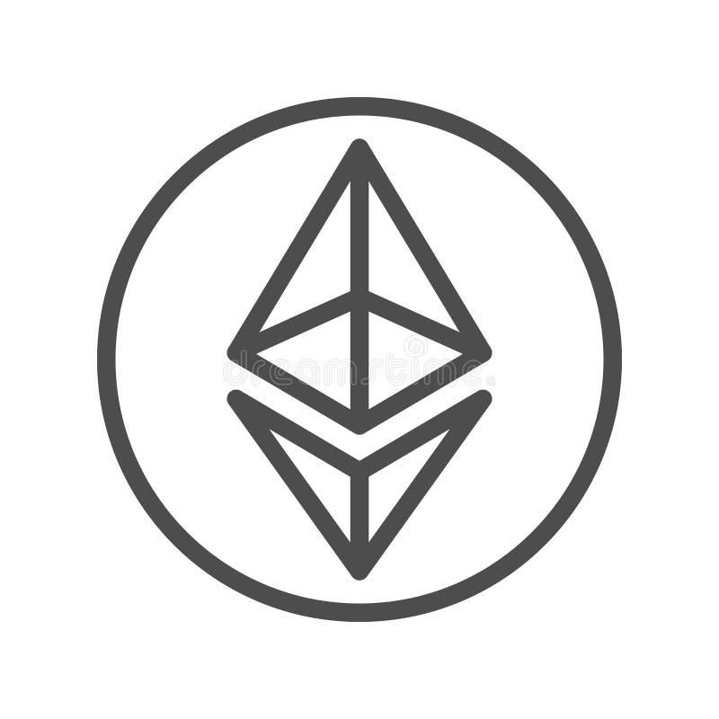 Dünne Linie Ikone Ethereum-Zeichens für Internet-Geld vektor abbildung