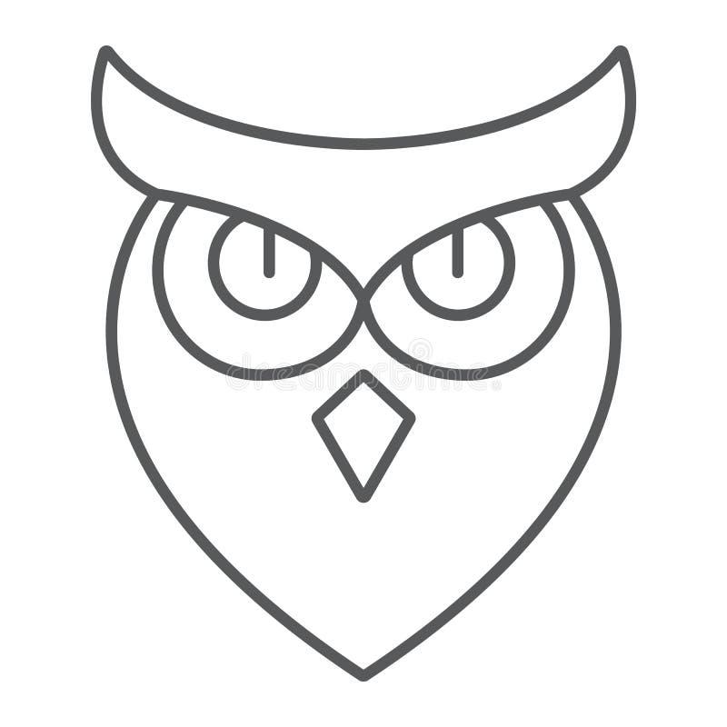 Dünne Linie Ikone Halloween-Eule, Tier und Klugheit, Vogelzeichen, Vektorgrafik, ein lineares Muster auf einem weißen Hintergrund stock abbildung