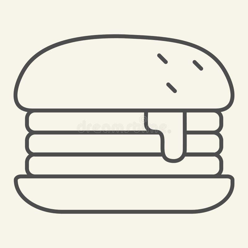 Dünne Linie Ikone Humburger Burgervektorillustration lokalisiert auf Weiß Brötchenentwurfs-Artentwurf, bestimmt für Netz und vektor abbildung