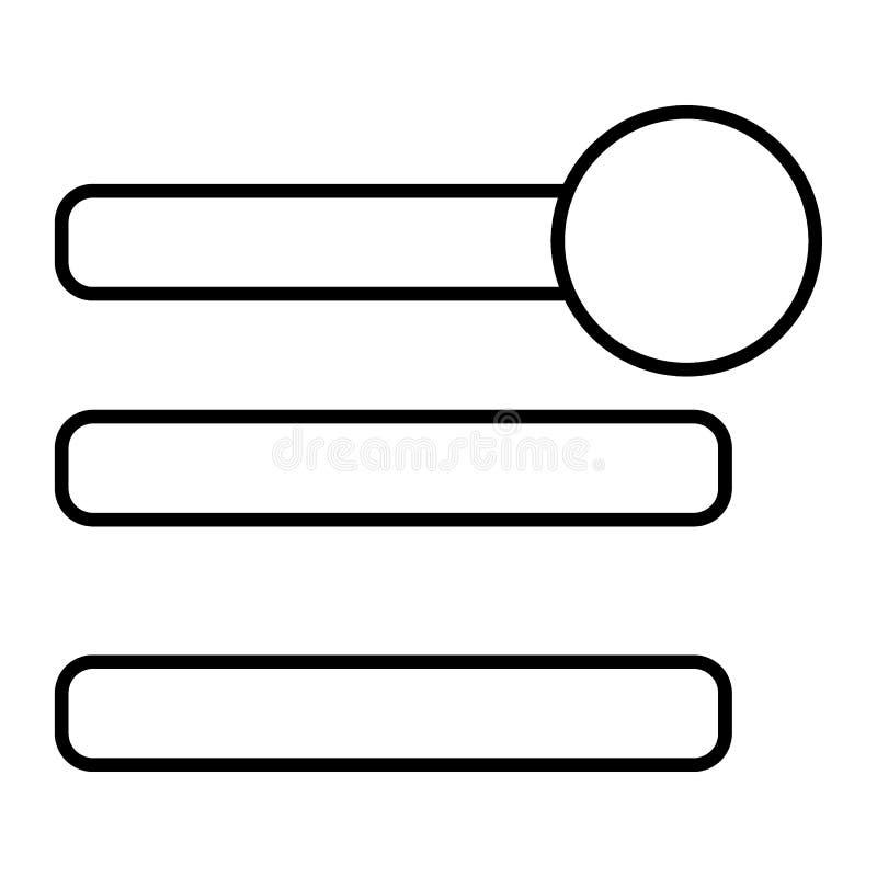 Dünne Linie Ikone Humburger-Menüs Menümitteilungs-Vektorillustration lokalisiert auf Weiß Menünavigations-Entwurfsart stock abbildung