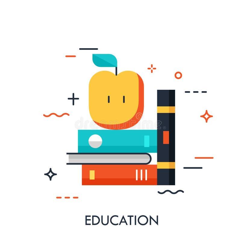 Dünne Linie Ikone mit flachem Gestaltungselement des Regals mit Büchern und Apfel, Zukunftsromanliteratur, Ausbildungsinformation vektor abbildung