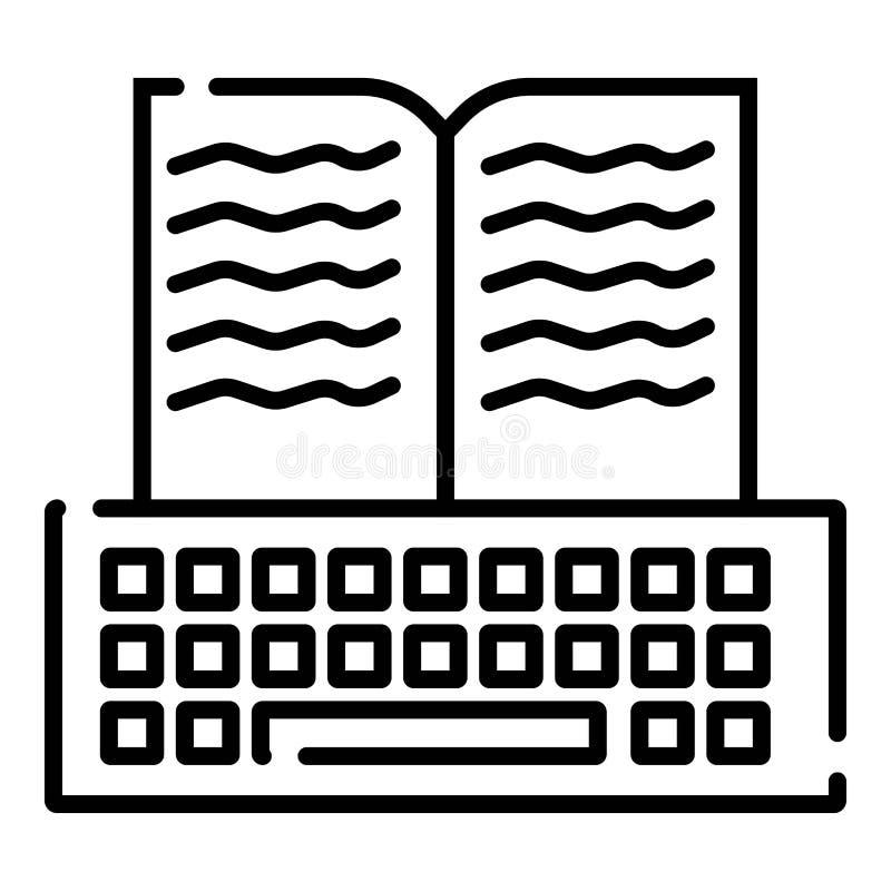 Dünne Linie Ikone mit on-line-Bibliothek des flachen Gestaltungselements, Fernstudium, Fernausbildung, Lesebücher, Literaturreche vektor abbildung