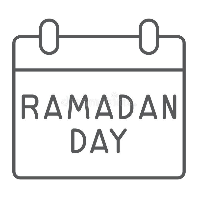Dünne Linie Ikone Ramadan-Kalenders, Datum und Islam, ramadam Tageszeichen, Vektorgrafik, ein lineares Muster auf einem weißen stock abbildung