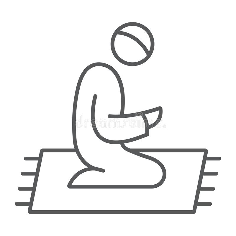 Dünne Linie Ikone, Religion des islamischen Gebets und beten, moslemisches Gebetszeichen, Vektorgrafik, ein lineares Muster auf e vektor abbildung