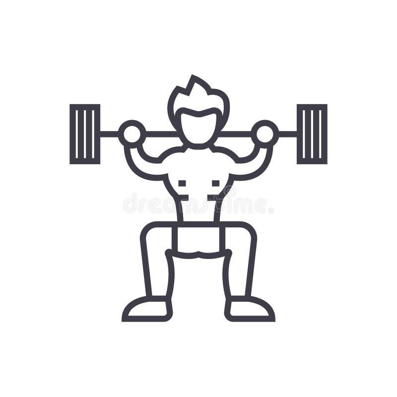 Dünne Linie Ikone, Symbol, Zeichen, Illustration des Weightlifterkonzept-Vektors auf lokalisiertem Hintergrund lizenzfreie abbildung