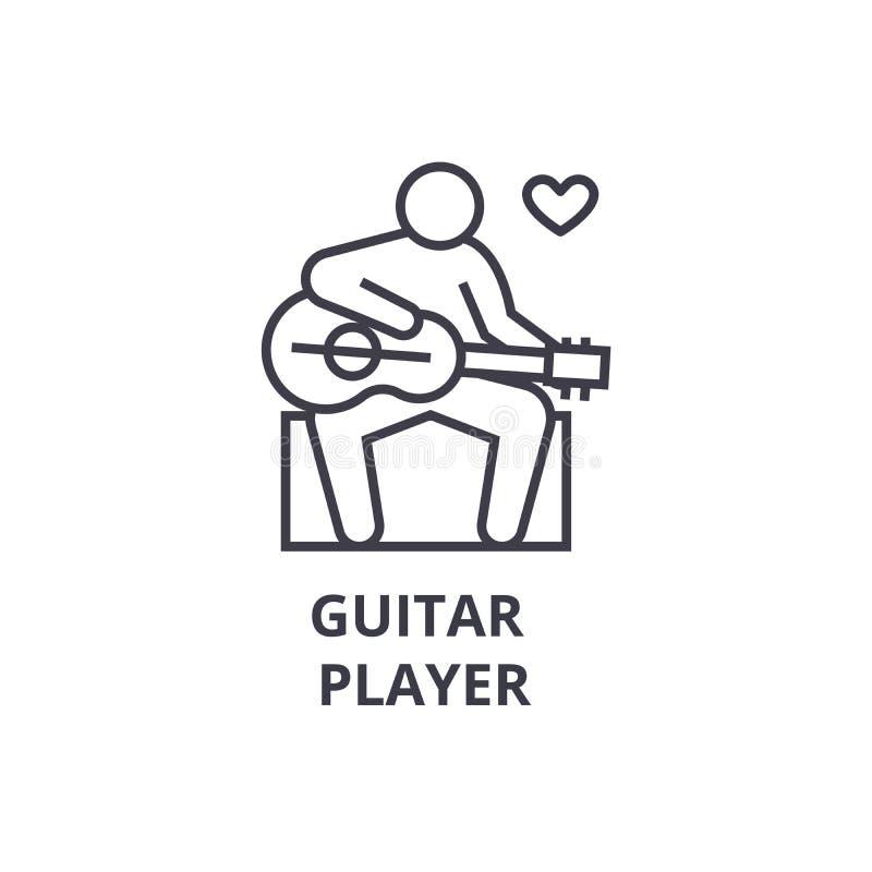Dünne Linie Ikone, Zeichen, Symbol, illustation, lineares Konzept, Vektor des Gitarristen lizenzfreie abbildung