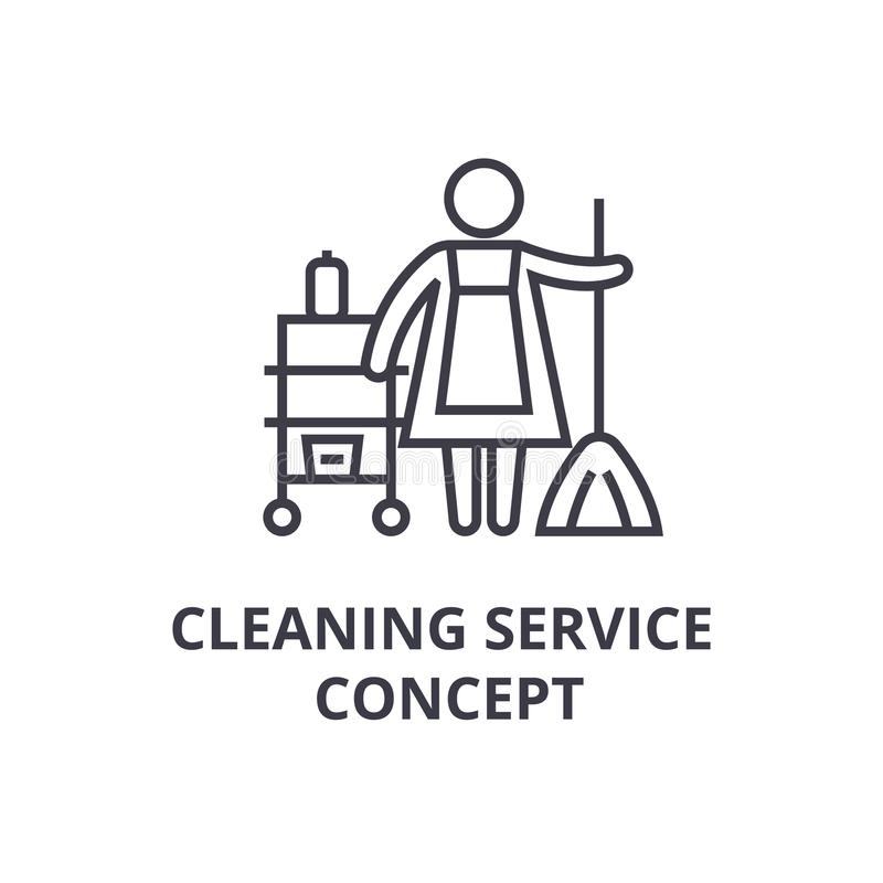 Dünne Linie Ikone, Zeichen, Symbol, illustation, lineares Konzept, Vektor des Reinigungsservicekonzepts stock abbildung