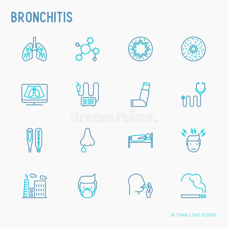 Dünne Linie Ikonen der Bronchitis eingestellt vektor abbildung