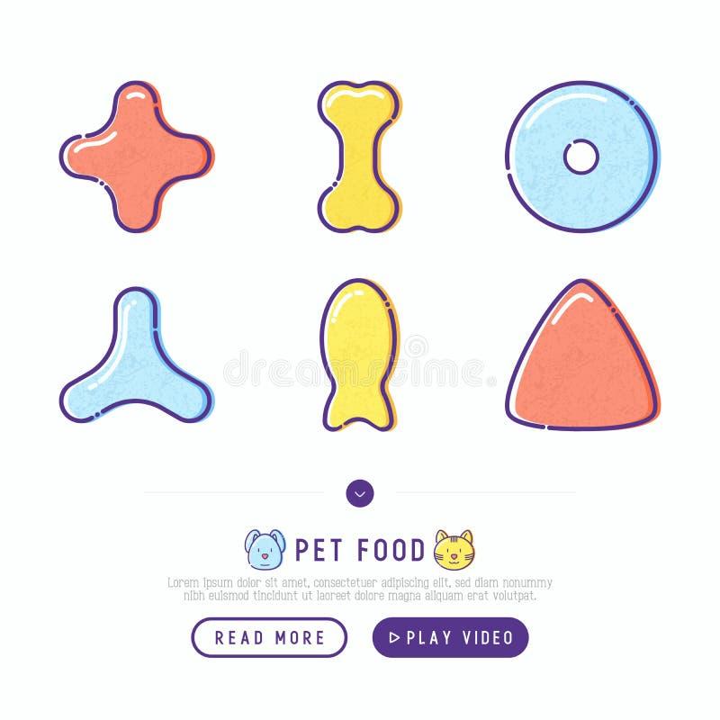 Dünne Linie Ikonen der Nahrung für Haustiere eingestellt lizenzfreie abbildung