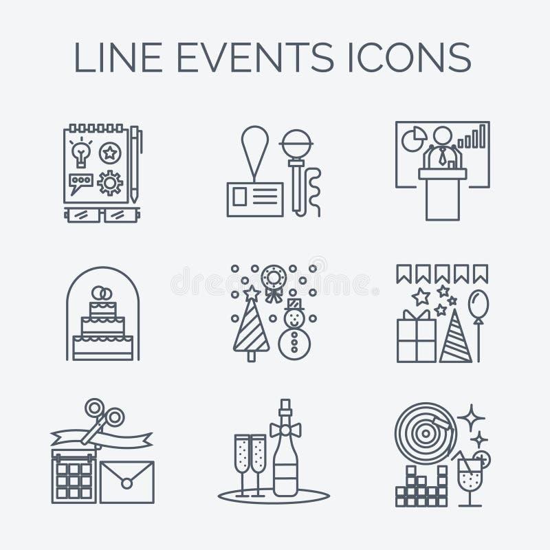 Dünne Linie Ikonen der Organisation der Ereignisse und der speziellen Gelegenheiten vektor abbildung
