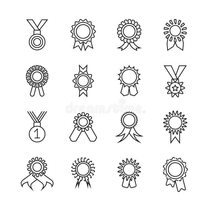Dünne Linie Ikonen der Rosettenfahne Vector die Preisband-Entwurfszeichen, die auf weißem Hintergrund lokalisiert werden stock abbildung