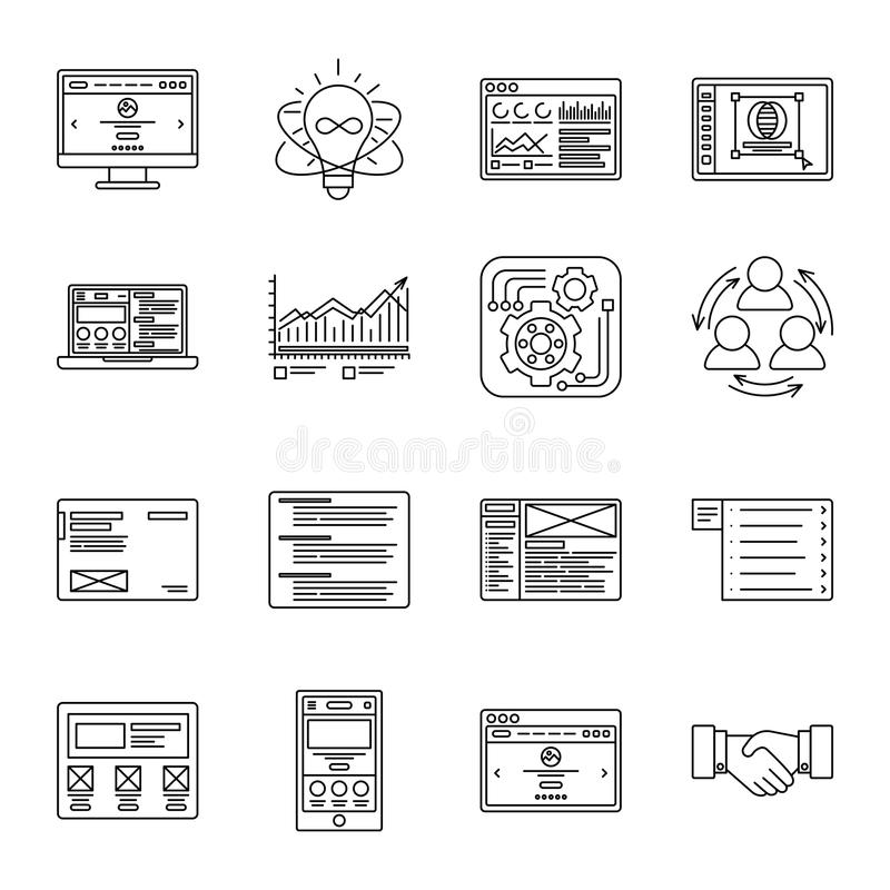 Dünne Linie Ikonen der Technologie und des Geschäfts eingestellt Symbole für Management, Finanzierung, Computer und Internet lizenzfreie abbildung