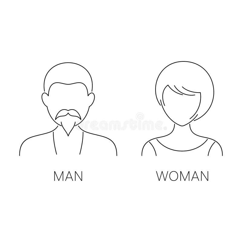 Dünne Linie Ikonen des Mannes und der Frau stock abbildung