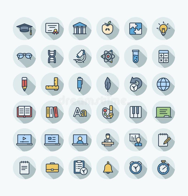 Dünne Linie Ikonen des Vektors flache Farbstellte mit Bildung, on-line-Lernenentwurfssymbole ein lizenzfreie abbildung