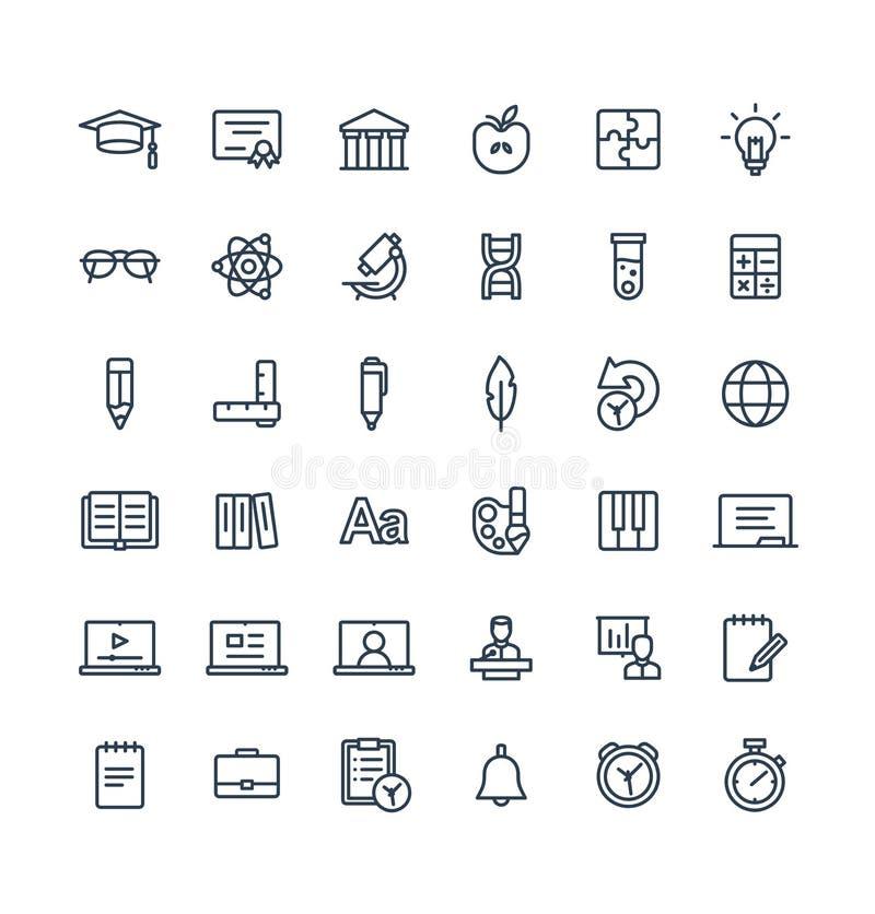 Dünne Linie Ikonen des Vektors stellte mit Bildung, on-line-Lernenentwurfssymbole ein stock abbildung