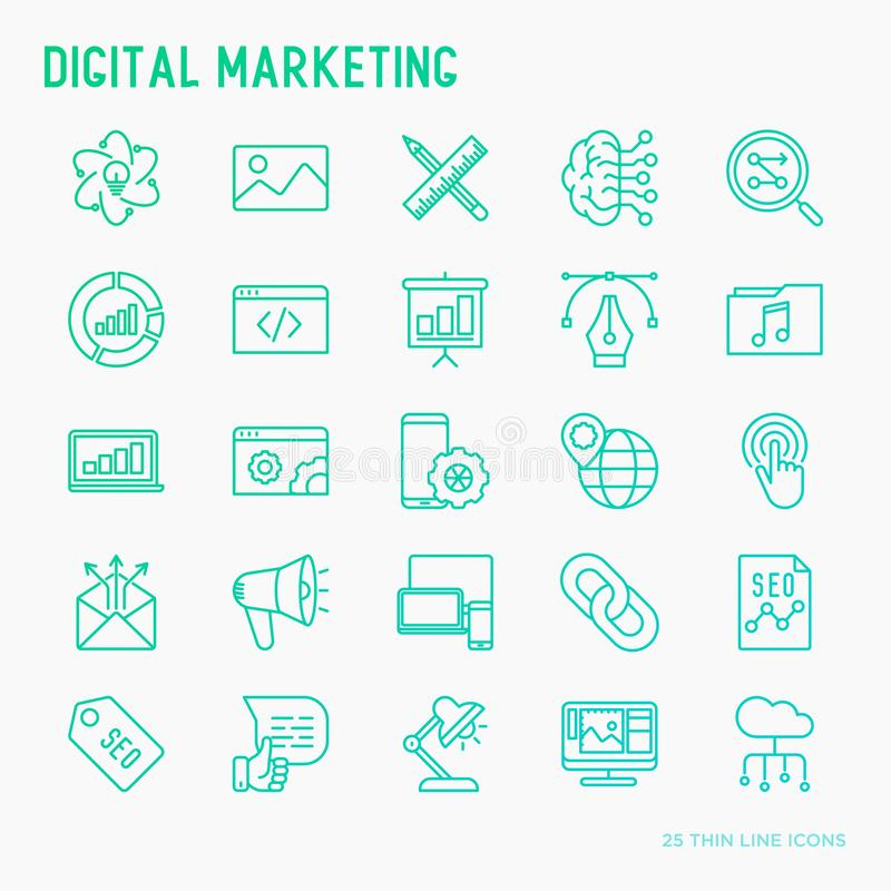 Dünne Linie Ikonen Digital-Marketings eingestellt lizenzfreie abbildung