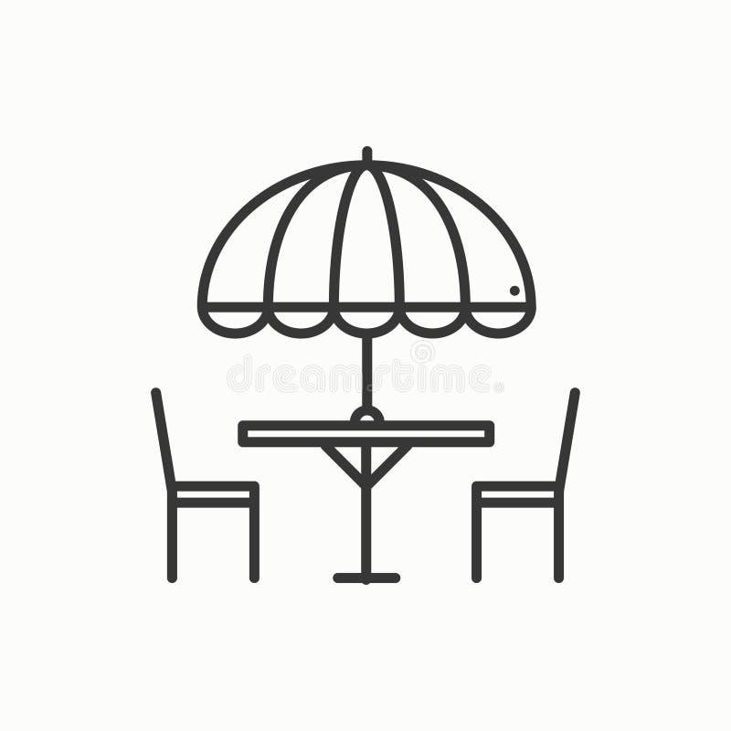 Dünne Linie Ikonen eingestellt Tabelle und Stuhl draußen draußen Schattenbildstraßencafé, Restaurantzeichen Lebensmittelservice p lizenzfreie abbildung