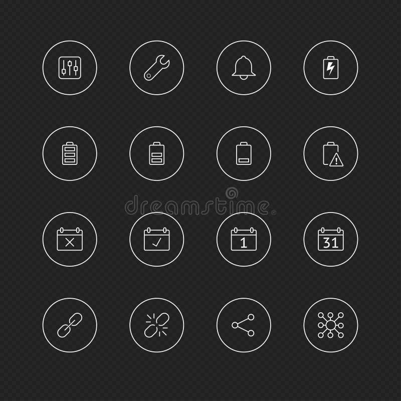 Dünne Linie Ikonen mit Kreis für Netz u. Mobile # 5 Handy-Einstellung vektor abbildung