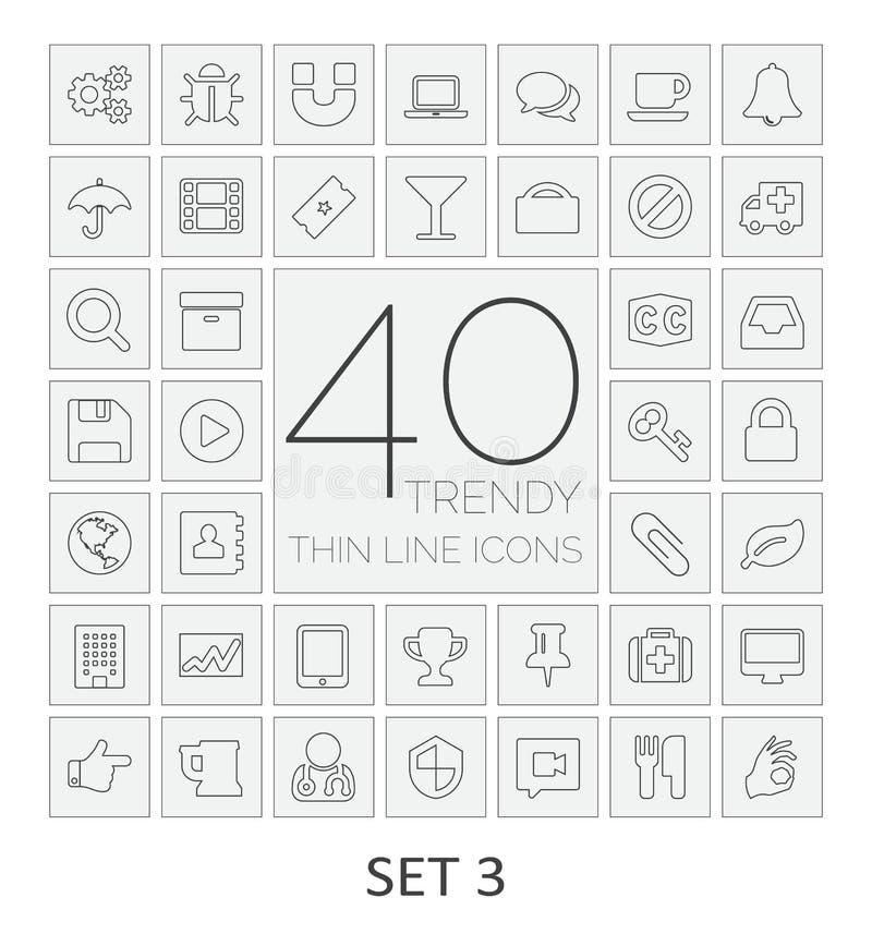 40 dünne Linie Ikonen Satz 3 lizenzfreie abbildung
