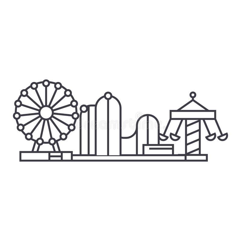 Dünne Linie Ikonenkonzept des Vergnügungsparks Lineares Vektorzeichen des Vergnügungsparks, Symbol, Illustration lizenzfreie abbildung