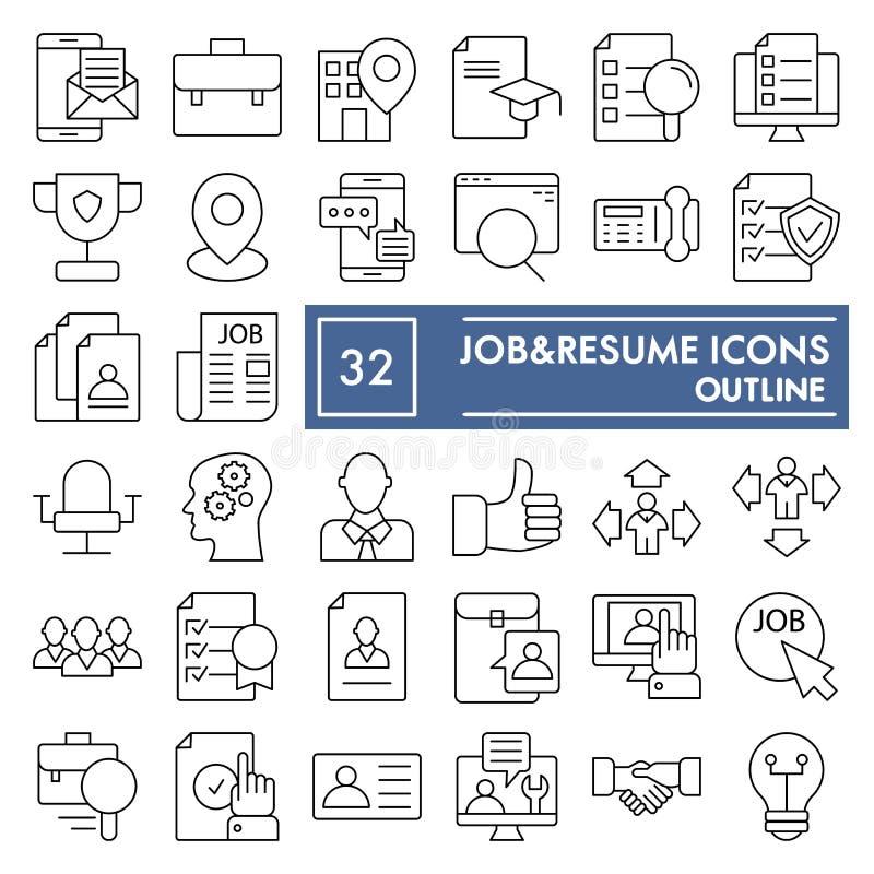 Dünne Linie Ikonensatz, Arbeitssymbole Sammlung, Vektorskizzen, Logoillustrationen, Zeichenentwurf des Jobs und der Zusammenfassu vektor abbildung