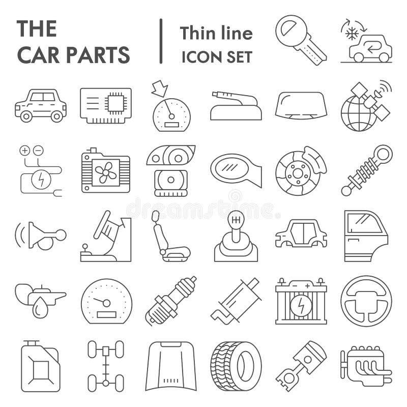 Dünne Linie Ikonensatz, Automobildetailsymbole Sammlung, Vektorskizzen, Logoillustrationen, Fahrzeugzeichen der Autoteile vektor abbildung