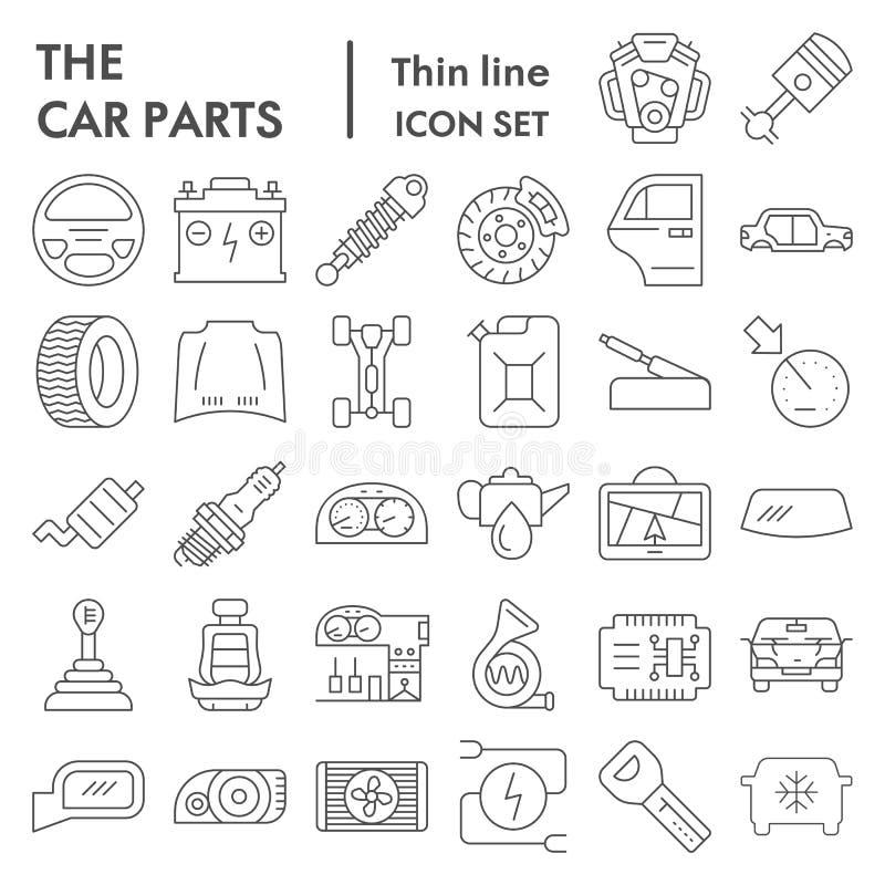 Dünne Linie Ikonensatz, Automobilsymbole Sammlung, Vektorskizzen, Logoillustrationen, Fahrzeugzeichen der Autoteile linear vektor abbildung