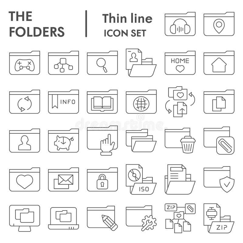Dünne Linie Ikonensatz, Computerordnersymbole Sammlung, Vektorskizzen, Logoillustrationen, Dateizeichen des Ordners linear stock abbildung