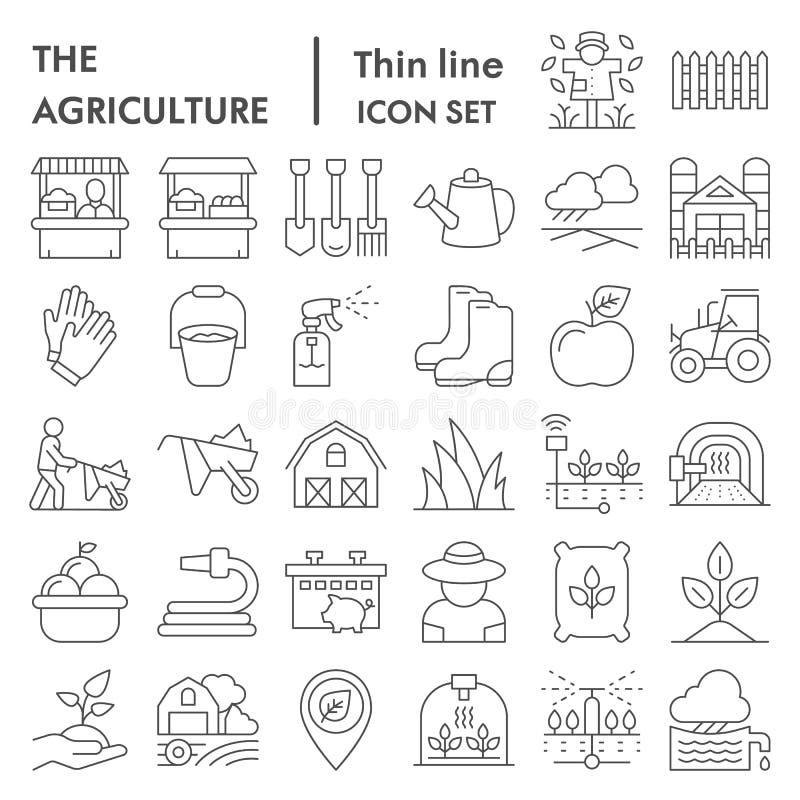 Dünne Linie Ikonensatz der Landwirtschaft, Symbole Sammlung bewirtschaftend, Vektorskizzen, Logoillustrationen, Gartenarbeitzeich vektor abbildung