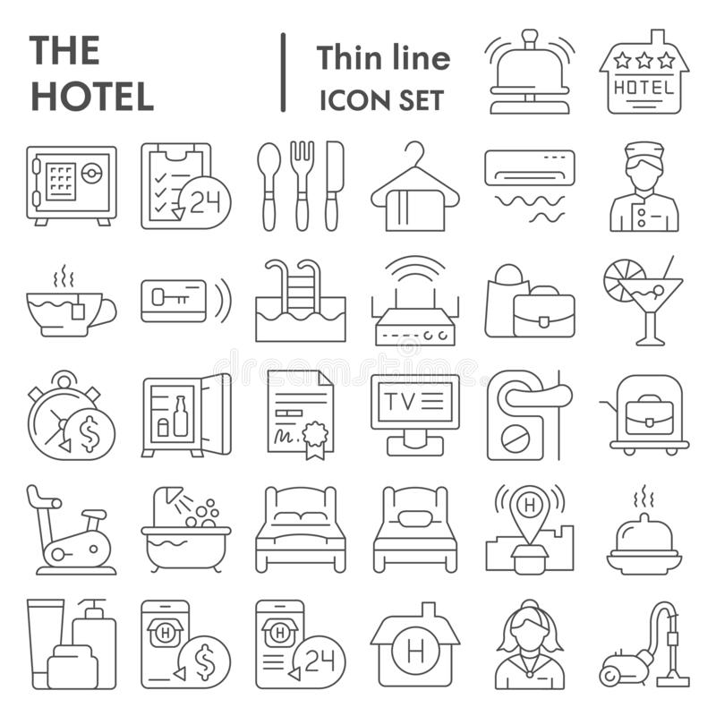 Dünne Linie Ikonensatz, Dienstbezeichnungen Sammlung, Vektorskizzen, Logoillustrationen, Herbergeszeichen des Hotels linear stock abbildung