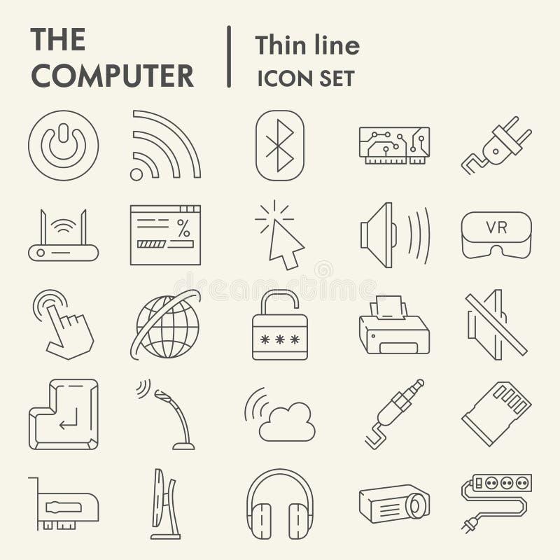 Dünne Linie Ikonensatz, digitale Symbole Sammlung, Vektorskizzen, Logoillustrationen, Netzzeichen des Computers linear vektor abbildung