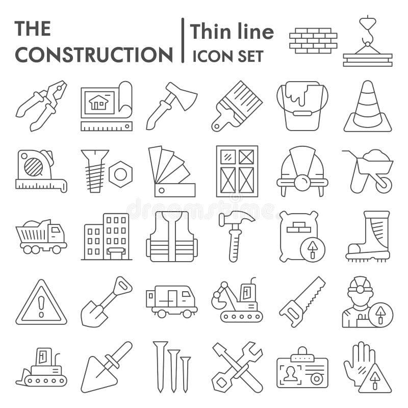 Dünne Linie Ikonensatz, Reparatursymbole Sammlung, Vektorskizzen, Logoillustrationen, errichtende Zeichen des Baus linear stock abbildung
