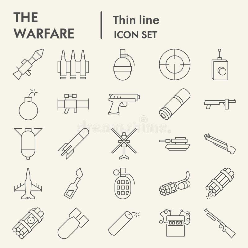 Dünne Linie Ikonensatz, Waffensymbole Sammlung, Vektorskizzen, Logoillustrationen, lineare Piktogramme der Kriegsführung der Waff vektor abbildung