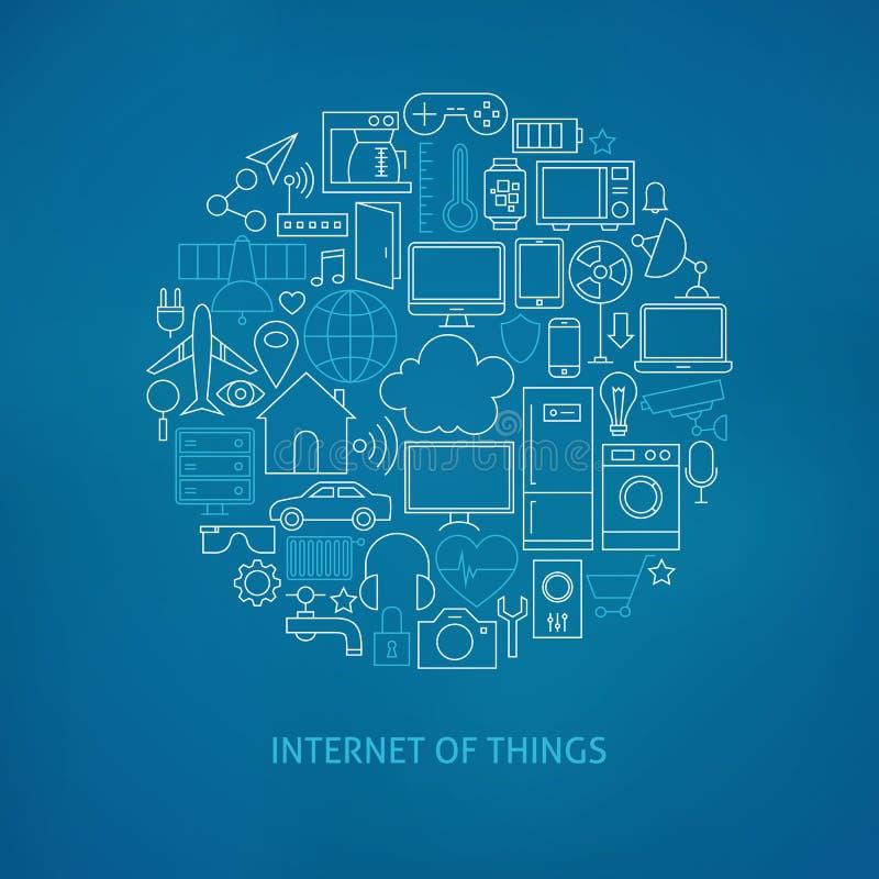 Dünne Linie Internet Sachen-des Ikonen eingestellten Kreis-Konzeptes
