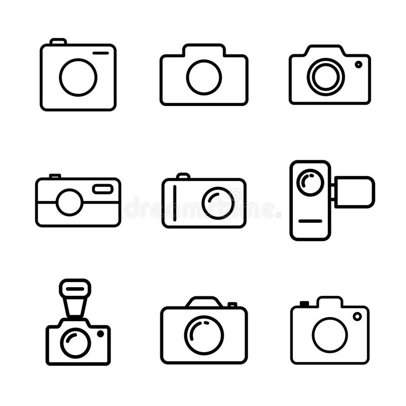 Dünne Linie Kameraikonen eingestellt lizenzfreie abbildung