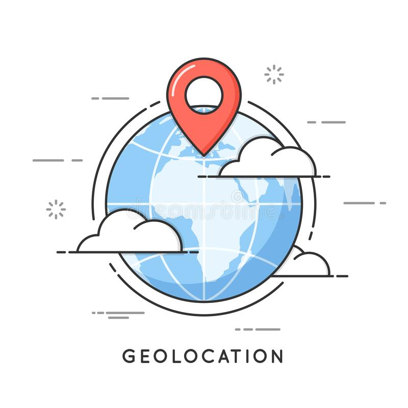 Dünne Linie Konzept Geolocation stock abbildung