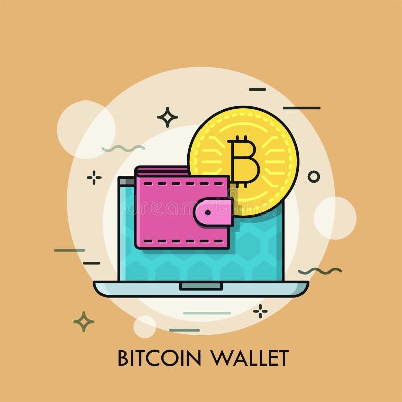 Dünne Linie Konzeptvektor Bitcoin-Geldbörse lizenzfreie abbildung