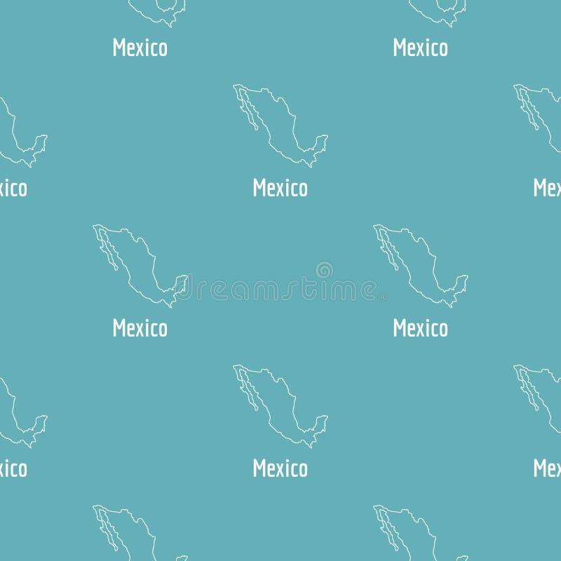 Dünne Linie Mexiko-Karte einfach stock abbildung