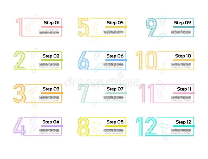 Dünne Linie minimale Infographic-Entwurfsschablone 12 Wahlen, Schritte Kann für Prozessdiagramm, Darstellungen, Arbeitsflussplan  stock abbildung